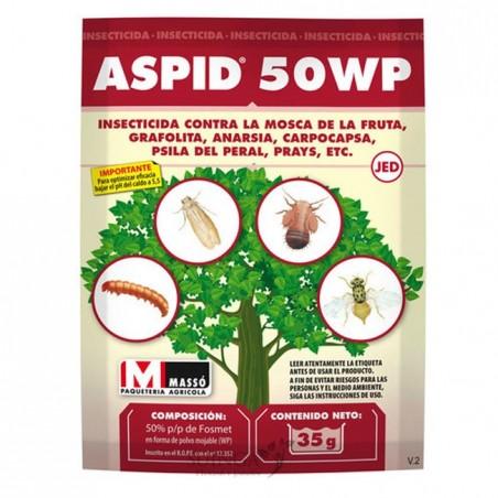 Insecticida Aspid 50 WP Massó 35 gr. Uso contra cochinillas, psyllas, tripses, polillas, moscas, escarabajos y orugas