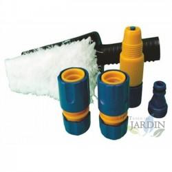 Kit de limpieza con cepillo y conectores a mangueras