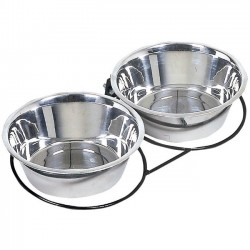 Double feeder and drinker for dogs in stainless steel 1.75l or 2.80l