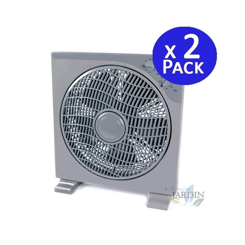 """Pack 2 x Ventiladores cuadrado de suelo 12"""" oscilante con temporizador 40W"""