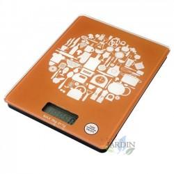 Báscula de cocina LED 5 Kg naranja, graduación 1 gr. 15,2x20 cm