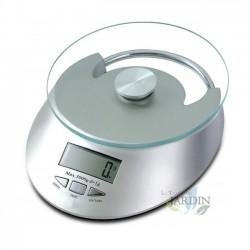 Báscula de cocina de vidrio 5 Kg gris, graduación 1 gr. Diámetro 15 cm