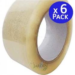 Pack 6 x Cinta adhesiva precinto 135 metros transparente embalaje, ancho 4,8 cm