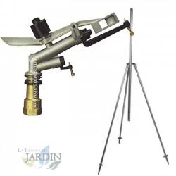 "Kit Aspersor Ibis agricola 1"" Circular 360º 13-23 m. Presión 1,5 a 5 Bar. Incluye soporte tripode metal 1""."