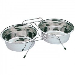 Double cats dog feeders and waterers with support