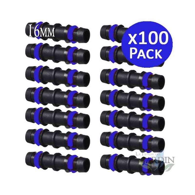 100 x MANGUITO GOTEO 16MM con ANILLA SEGURIDAD. Unión enlace para tubo de goteo 16 mm. Color negro.