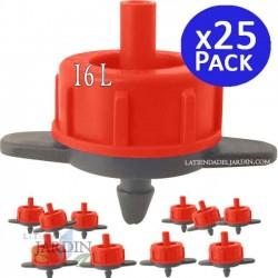 Detachable 16 l / h self-compensating dripper. 25 units