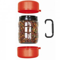 Travel dog feeder with two dishes