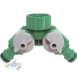 """Grifo Jardin 1/2"""" metal + Bifurcador2 salidas. Recomendado para conexión de mangueras y sistemas de riego"""
