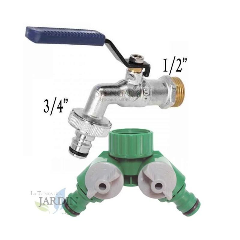"""Grifo Jardin 1/2"""" metal + Bifurcador 2 salidas. Recomendado para conexión de mangueras y sistemas de riego"""