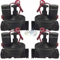 """Pack 4 x Electroválvula de riego Suinga 1"""" 24V con regulador de caudal"""