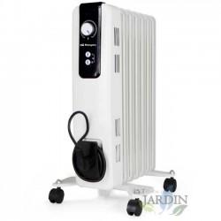 Radiador de aceite Orbegozo 7 elementos. Potencia máxima 1.500 W. Termostato regulable.