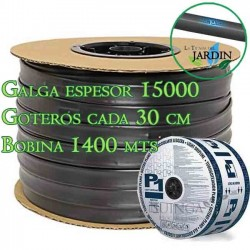 Cinta riego por goteo 16mm 1400 mts. Galga espesor 15 mil. Goteros 1,5 l/h cada 30 cm