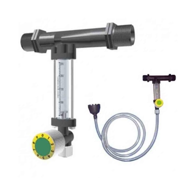 Inyector venturi de fertilizante 25Ø 2mm con llave y caudalímetro