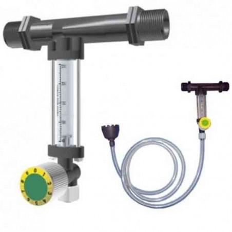 Inyector de fertilizante 25Ø 2mm con llave y caudalímetro venturi