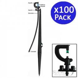 Microaspersor de riego 90º con estaca. 100 unidades