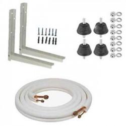 """Kit instalación aire acondicionado 1/4""""-3/8"""" hasta 2800w. Soportes 400 mm+Tubo+Antivibradores+Tacos metálicos fijación a muro"""