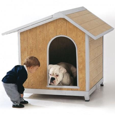 Caseta perro PVC techo abatible modelo Málaga 118x108x109 cm