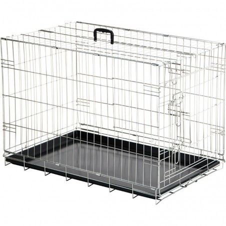 Dog cage for transport and exhibition with tray