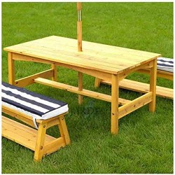 Picnic table with benches and umbrella for children