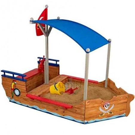 Barco pirata arenero de madera