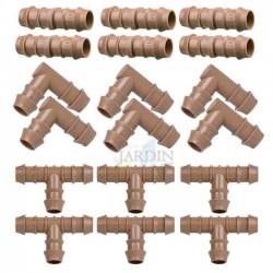 Pack Riego por goteo 16mm: 6 te + 6 codo + 6 enlace. Color marrón