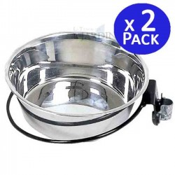 Stainless steel dog feeder 1.75l. 2 units