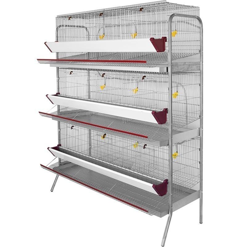 Batería para 45 gallinas ponedoras en 9 departamentos 154x70x185 cm