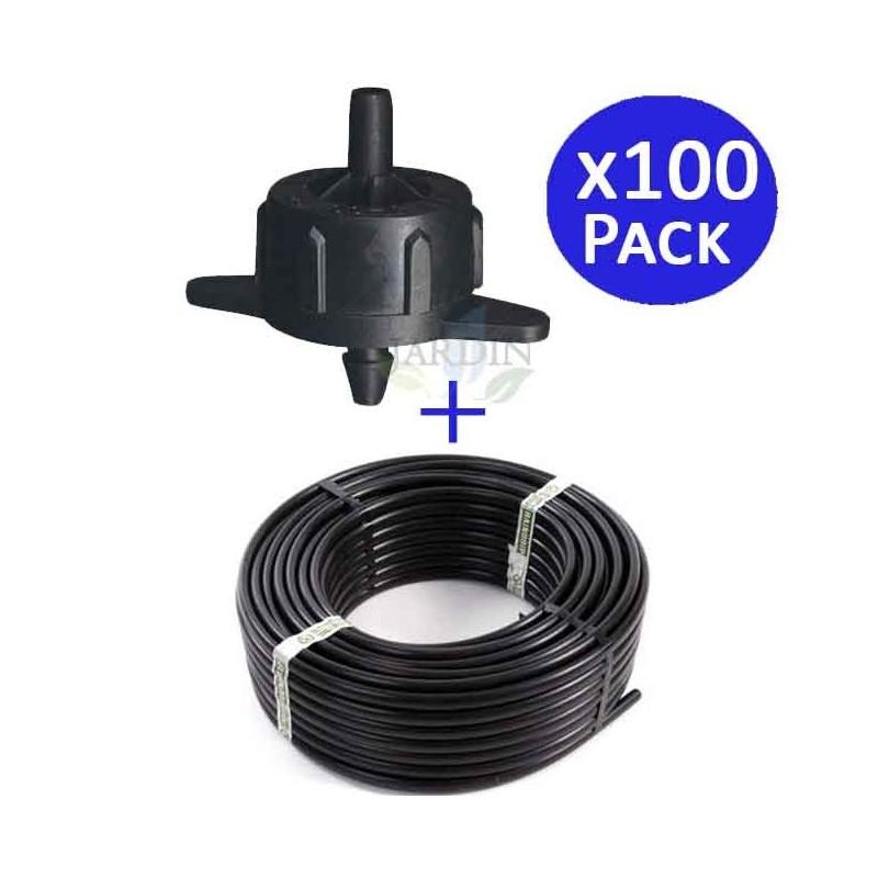 Dripline 16mm 100 meters + 100 self-compensating drippers 4 l / h detachable