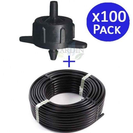 Drip pipe 16mm 100 meters + 100 self-compensating drippers 4 l / h detachable