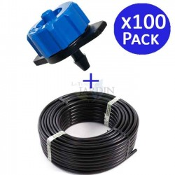 Drip pipe 16mm 100 meters + 100 self-compensating drippers 8 l / h detachable