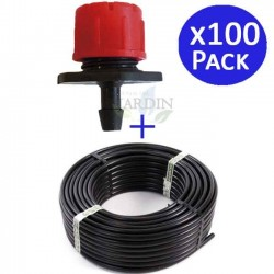 Drip pipe 16mm 100 meters + 100 adjustable drippers 0 to 70 l / h