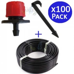 16mm pipe 100 mts + 100 adjustable drippers + 100 pikes