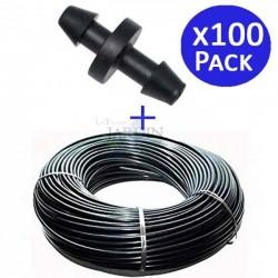 Microtubo flexible 4,5x6,5 mm negro 200 mts + 100 Enlaces microtubo