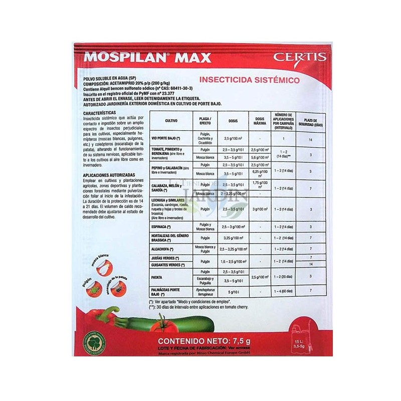 Mospilan insecticide 7.5 gr. Indicated for aphids, whiteflies, potato beetles, etc.