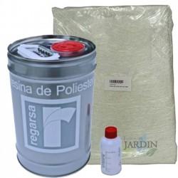 Kit Resina Poliester 5kg + catalizador + Manta Mat300 10m2