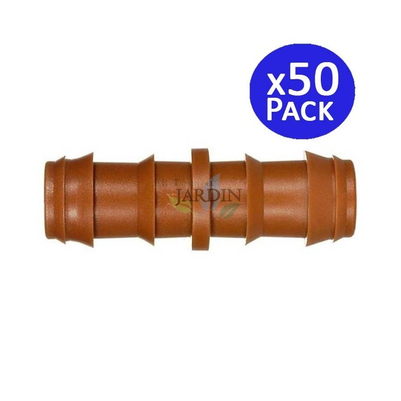 Enlace riego por goteo 16mm marrón. 50 unidades
