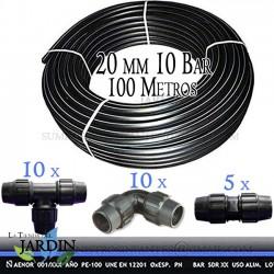 Pack PE100 Food Pipe 20mm 10 bar 100 m + Accessories