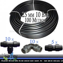 Pack PE100 Food Pipe 25mm 10 bar 100 m + Accessories