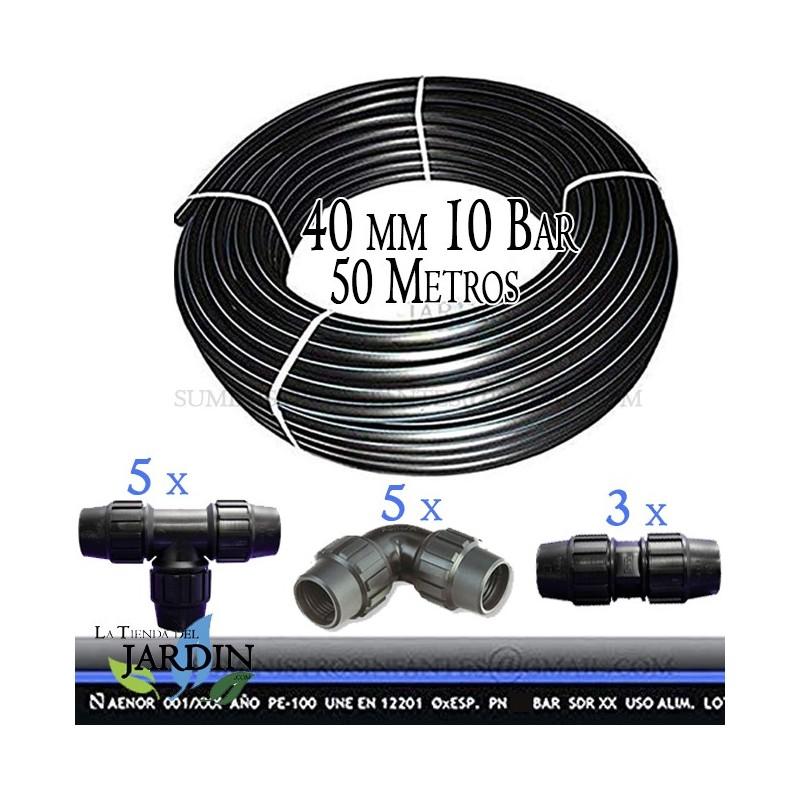 riego y obras. Pack 4 x ENLACE MACHO POLIETILENO 40MM x 1 1//4 Producto con certificado AENOR utilizado en tuber/ías PE 40 mm para uso fontaner/ía