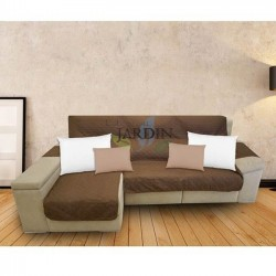 Protective cover for brown and beige chaise longue sofa