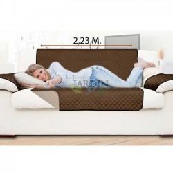 Funda protectora de sillón reversible 2 plazas marrón y beige