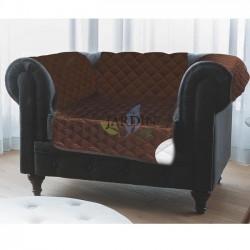 Funda protectora de sillón reversible 1 plaza marrón y beige