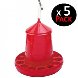 Red hopper 2 Kg for chickens. Pack 5 feeders