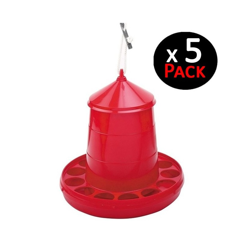Red hopper 2 Kg for chickens. Pack 5 feeders