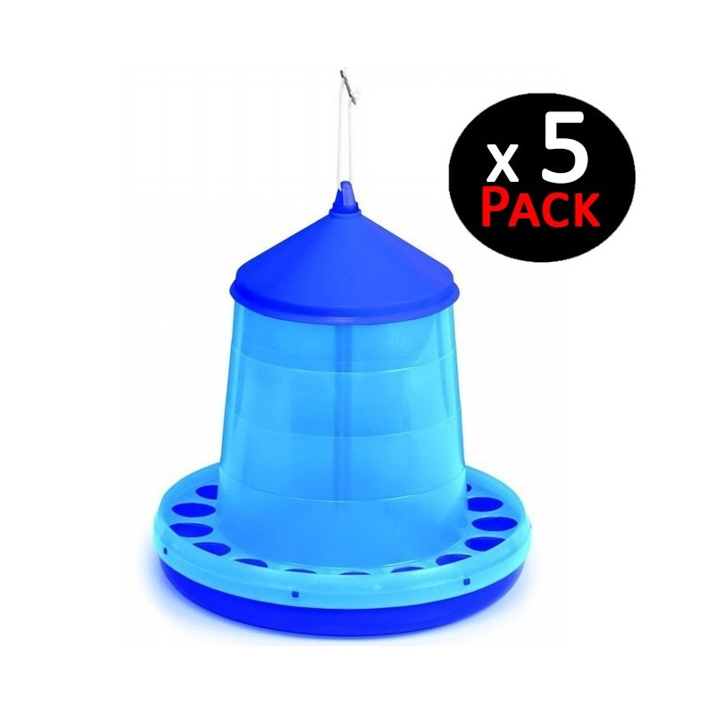 Blue hopper 8 Kg for chickens. Pack 5 feeders