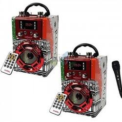 Pack 2 x Radio Altavoz bluetooth Roma con función karaoke