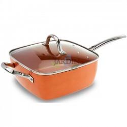 Square frying pan non-stick copper particles Ø24cm
