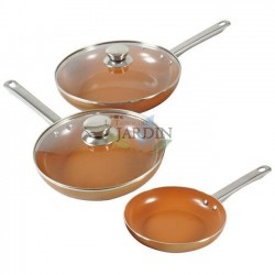 Set of copper frying pans 20cm, 24cm and 28cm