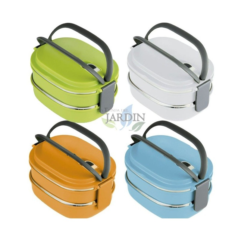 Stainless steel 1.5 l double lunch box (random color)